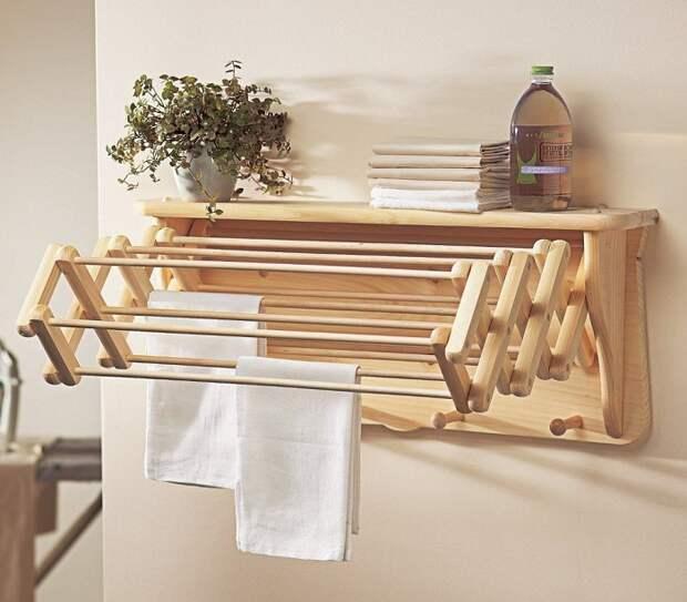 Оригинальная сушилка из дерева. / Фото: modernplace.ru
