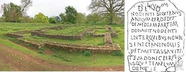 Руины древнего храма и прорисовка таб...