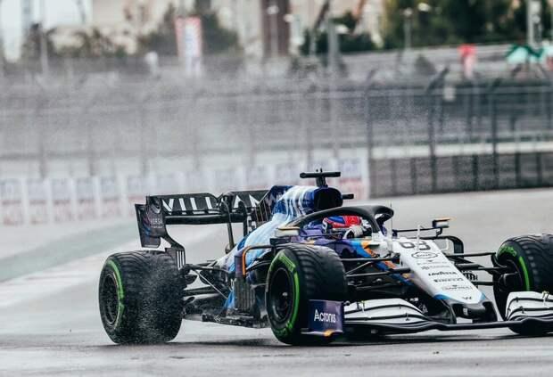 Джордж Рассел в финальном сегменте квалификации Гран При России