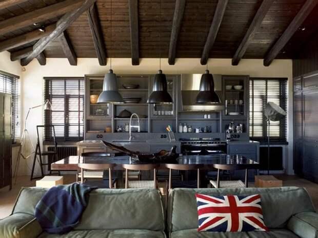 Кухня-студия в индустриальном стиле фото