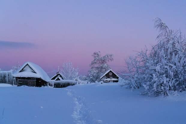 Зима деревня, зима, природа