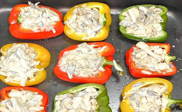 Курица с грибами на съедобной тарелке: готовим перец как в ресторане