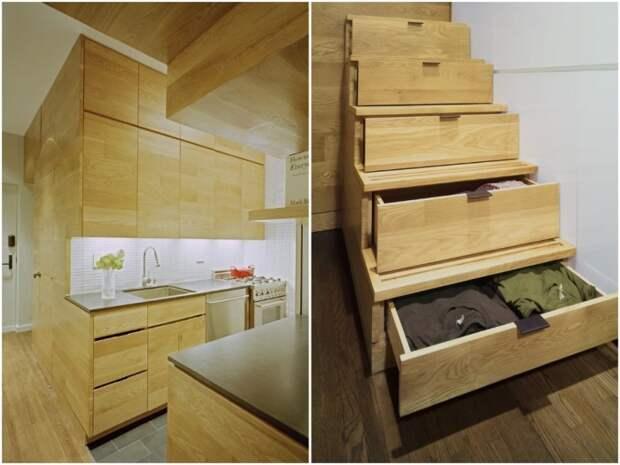 Каждый элемент мебельной стенки выполняет несколько функций (E-Village Studio). | Фото: archilovers.com.