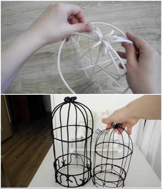 Светильники креативная рукодельница сделала из проволоки и бельевой веревки. | Фото:  youtube.com/ © Екатерина Басми.