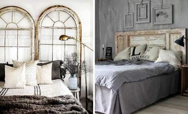 Изголовье для кровати из дверей. \ Фото: pinterest.co.uk.