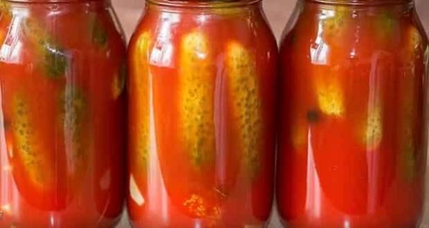 Обалденные огурцы в томатной заливке на зиму: рецепты с чесноком