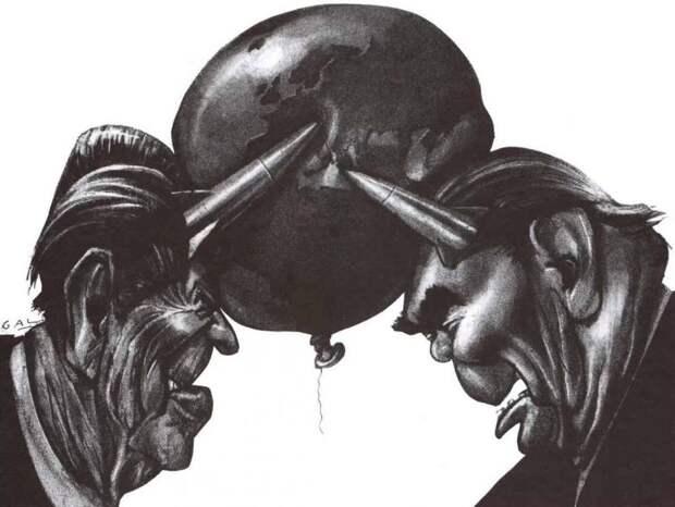 Брежнев и Рейган в своем противостоянии готовы разорвать земной шар (1981 год)