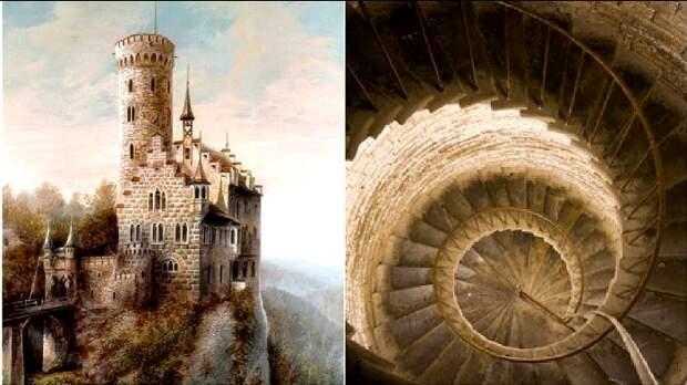 Даже винтовая лестница в замке проектировалась особы образом. /Фото: youtube.com