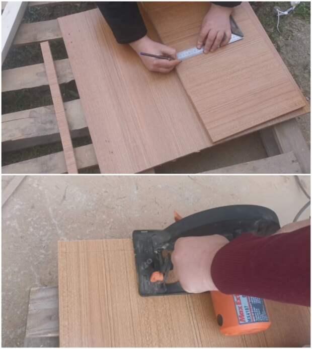 Сначала раскраиваем имеющийся материал по размеру.