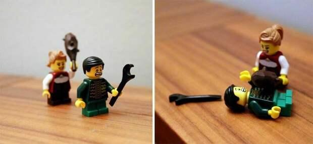 Девушка путешествует со своим бойфрендом — человечком из конструктора LEGO