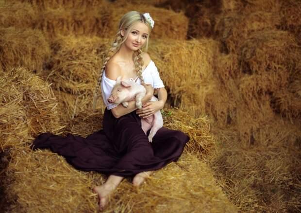 Девушка в деревне, идея фотосессии с животными. Фотография с ...