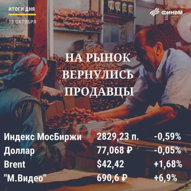 """Итоги вторника, 13 октября: на рынке установилась власть """"медведей"""""""