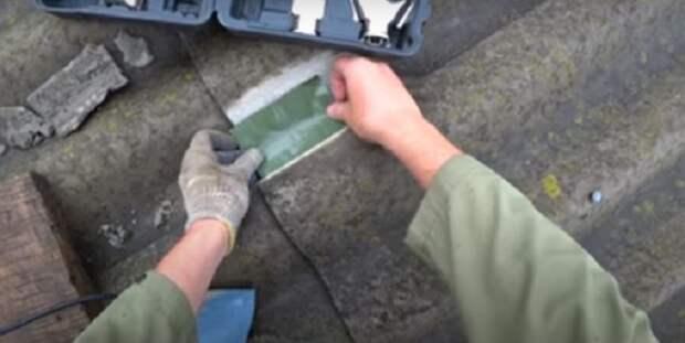 Простой способ залатать повреждённый шифер на крыше