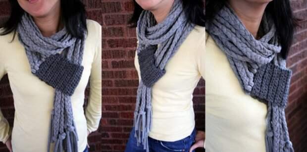 Замысловатый шарфик из трикотажа и вязаного элемента