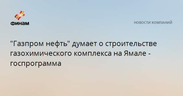 """""""Газпром нефть"""" думает о строительстве газохимического комплекса на Ямале - госпрограмма"""