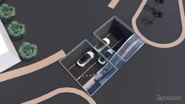 Илон Маск показал как будет выглядеть туннель для автомобилей Tesla