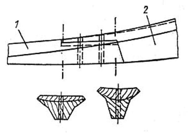 Горизонтальная накладка для соединения киля (1) со штевнем (2).