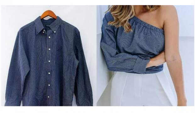 Блузка на одно плечо из джинсовой рубашки