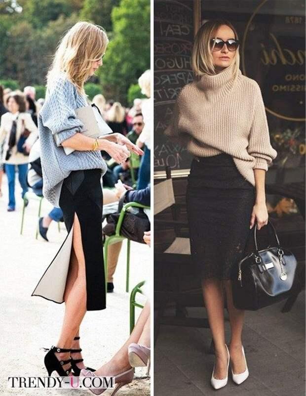 Свитера в сочетании с юбками-карандаш