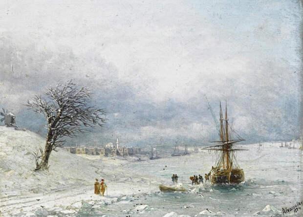 Зимний пейзаж. И. Айвазовский, 1874 год. | Фото: history-of-art.livejournal.com.