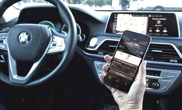 Смартфон в автомобиле BMW