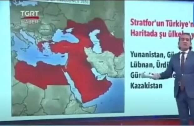 В Турции показали карту с зонами турецких интересов на российской территории