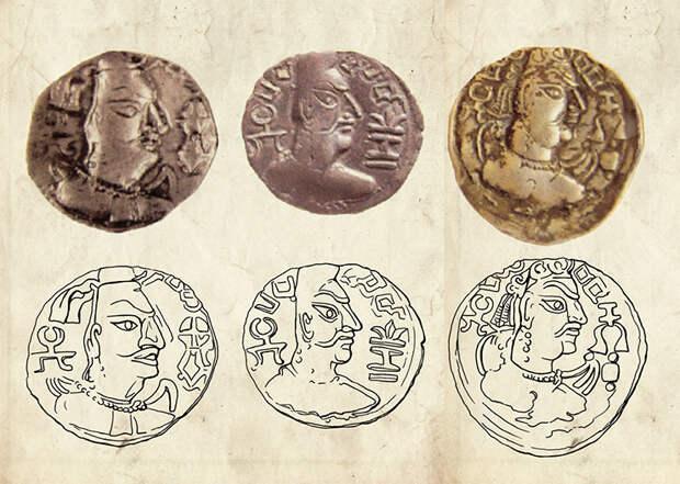Монеты эфталитов (гуннов-алхонов правителя Мехама, 461–493 гг. н.э.) и их прорисовки. Рис. Е. Шумаковой
