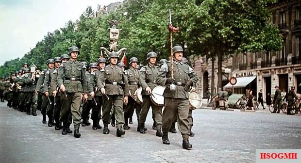 Гитлеровцы вступают в Париж. Франция позорно сдалась: 60 % ее территории было оккупировано, часть земель аннексировалась Германией и И талией, остальные управлялись марионеточным правительством Виши