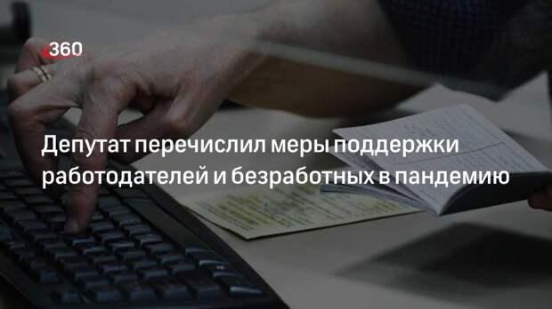 Депутат перечислил меры поддержки работодателей и безработных в пандемию