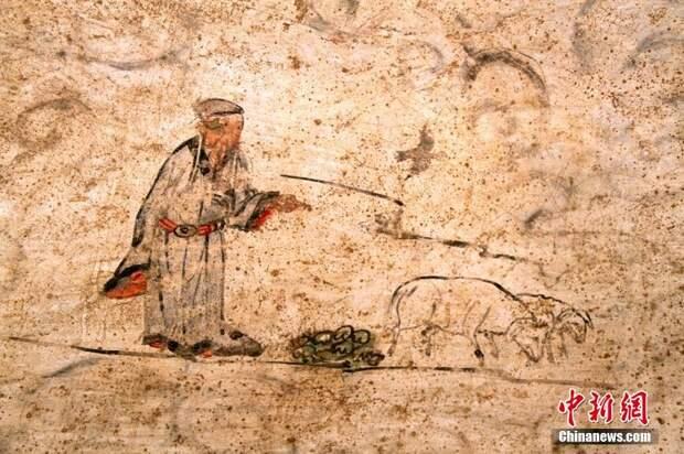 Фрески из гробницы монгольской династии Юань в Шаньси.