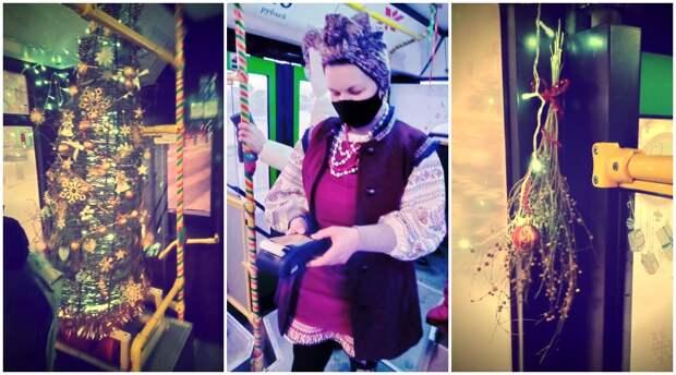 В Красноярске кондуктор украсила салон автобуса в стиле рассказов Гоголя