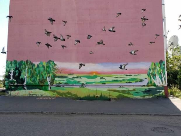 Живые птицы на картине.