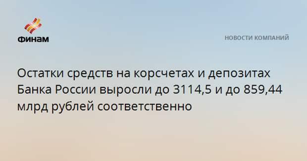 Остатки средств на корсчетах и депозитах Банка России выросли до 3114,5 и до 859,44 млрд рублей соответственно