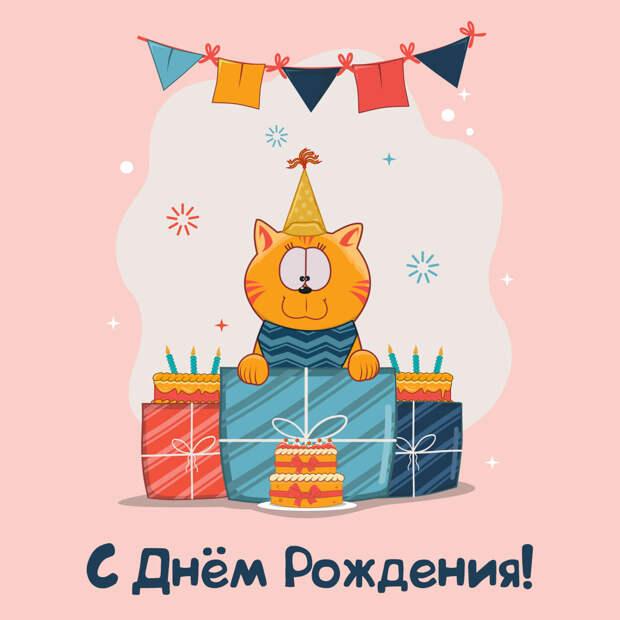 Прикольная открытка с днем рождения кот в колпаке