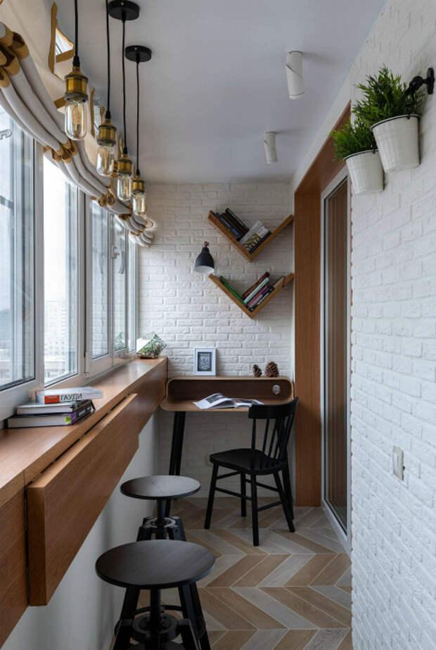 Лоджия с барной стойкой и рабочим столиком. | Фото: amadgital.com.
