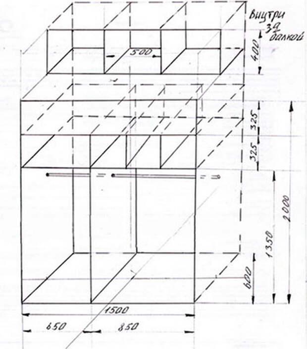 Чертеж шкафа купе (схема)