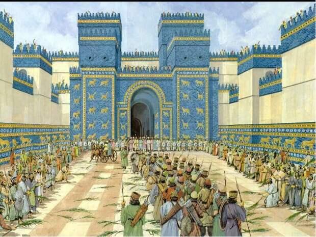 """Праздничная процессия по """"дороге Мардука"""" в древнем Вавилоне (возможный вид, реконструкция, - из открытого доступа)"""