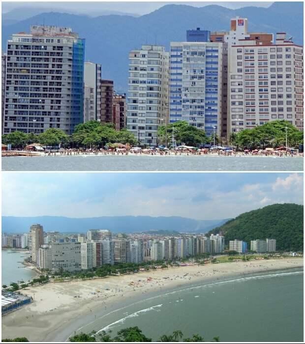 Больше всего «падающих» домов расположено на набережные города (Сантос, Бразилия).