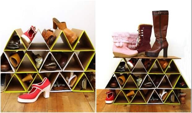Обувной стеллаж из гофрокартона может сделать даже ребенок.