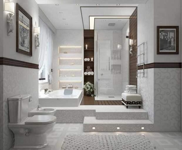Прекрасный вариант преобразить интерьер комнаты для принятия ванны и душа в светло-серых тонах.