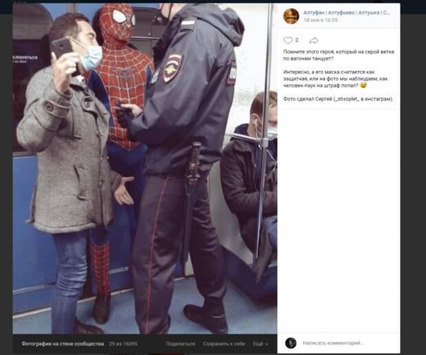 Фото дня: человеком-пауком с серой ветки заинтересовалась полиция