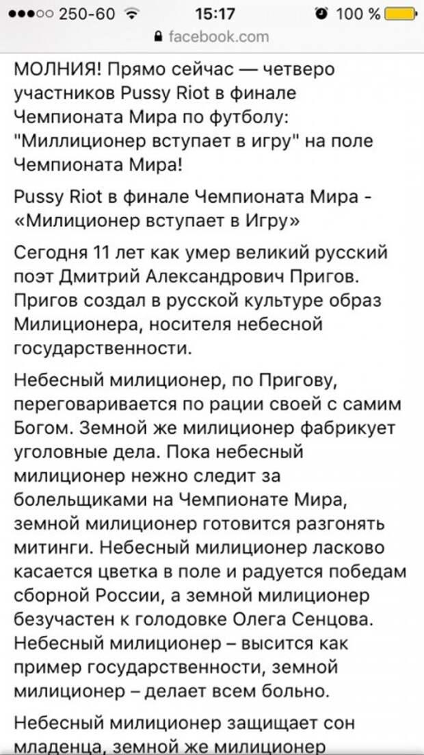 Pussy Riot решили хайпануть на финале ЧМ - 2018. Что им за это будет?