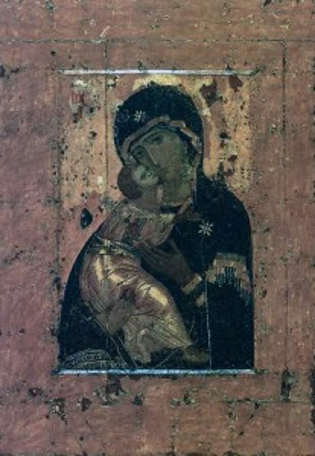 Икона «Богоматерь Владимирская». XII в. Москва. Государственная Третьяковская галерея Первоначальный размер иконы - 75 на 55 см, потом были наращены поля.