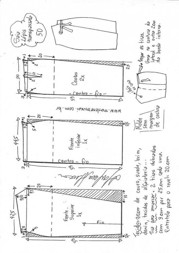 Выкройка юбки карандаш с запахом