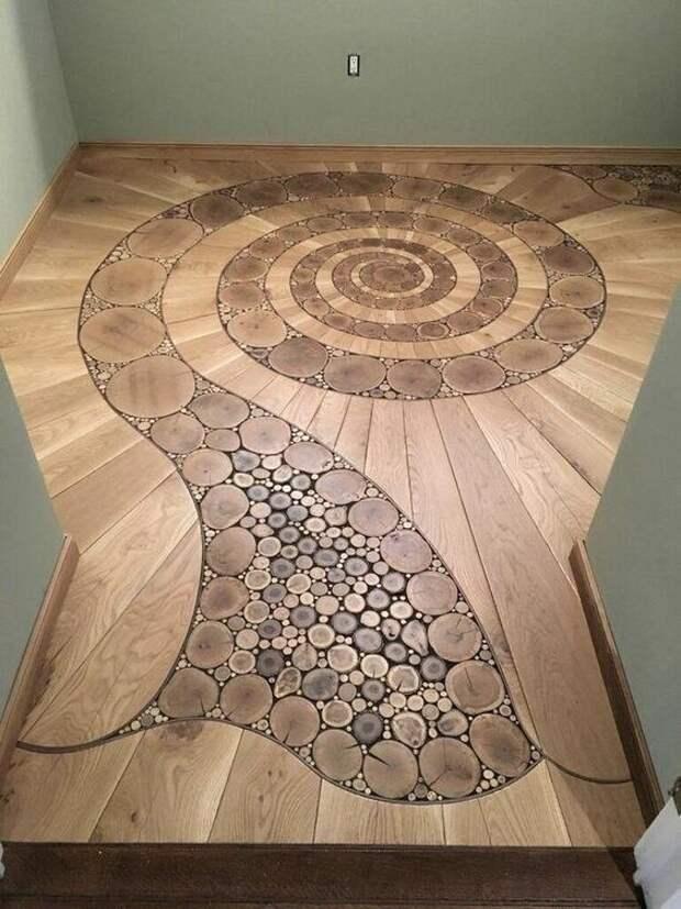 Мозаичный пол из спилов