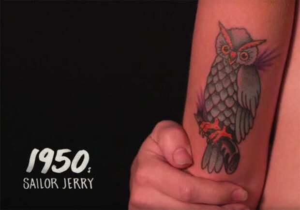 В середине прошлого столетия яркая татуировка в виде разноцветной совы стала самым узнаваемым нательным рисунком от известного мастера Sailor Jerry (Сейлора Джерри).