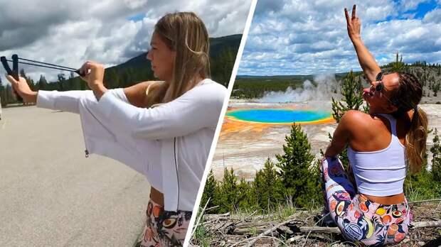 Юлия Ефимова сбила тарелку сдерева выстрелом изрогатки: видео