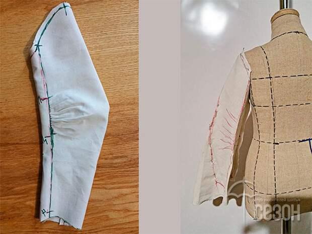 Как его получить? Выкраиваем рукав из макетной ткани, сшиваем и надеваем на манекен. С помощью булавок придаём рукаву форму буль, оставляя полный объём ткани от оката до линии ниже локтя, и заужая рукав от локтя до запястья. На фото справа показаны линии заужения со стороны спинки (красным цветом).