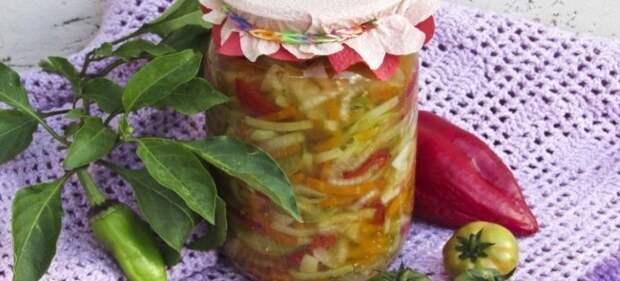 сладкий салат из зеленых помидор на зиму