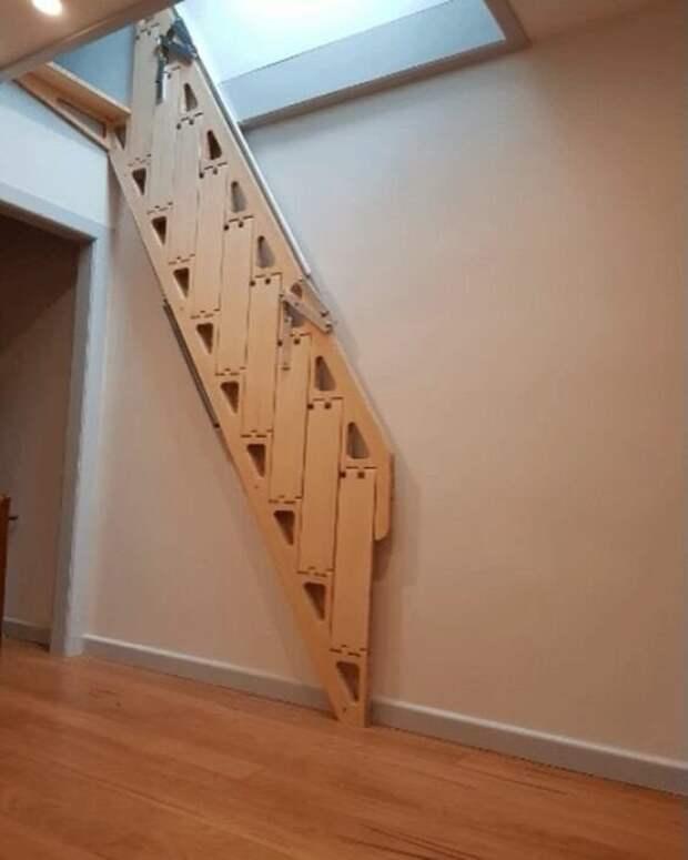 И бонус. Откидные и выдвижные лестницы для чердаков Фабрика идей, идеи, красота, лестницы, странное, строительство, удивительно